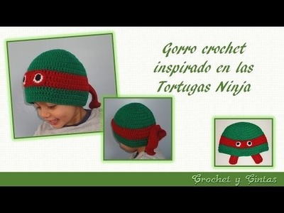 Gorro crochet inspirado en las Tortugas Ninja para niños