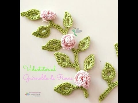 Guirnalda de rosas a crochet