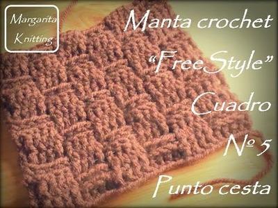 Manta a crochet FreeStyle cuadro 5: punto cesta (diestro)