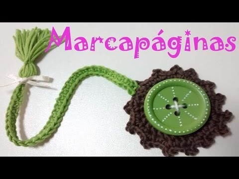 Marcapáginas Botón Crochet. Crochet Bookmark Button.