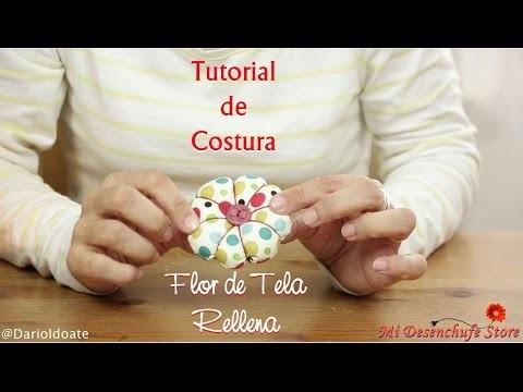 Tutorial #15 - Como hacer una Flor de tela rellena - How to make Fabric Flowers