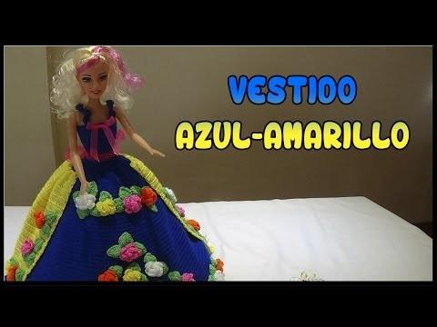 Vestido Azul-Amarillo de crochet para Muñeca