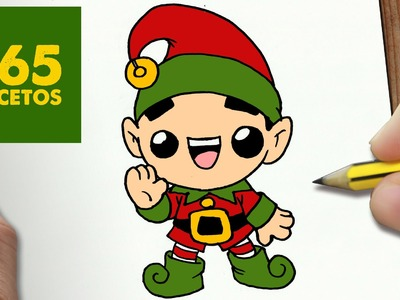 COMO DIBUJAR ELFO NAVIDAD KAWAII PASO A PASO - Dibujos kawaii faciles - How to draw a CHRISTMAS ELF