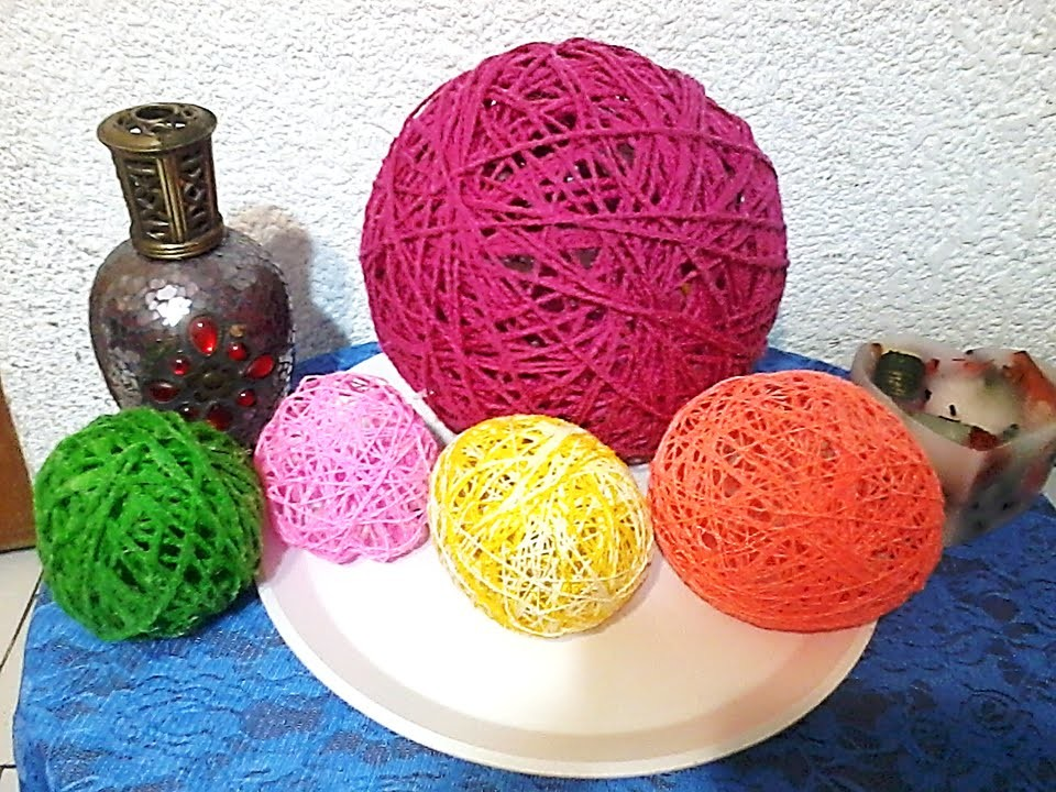 Como hacer esferas de hilo o estambre. DIY. How to make spheres thread