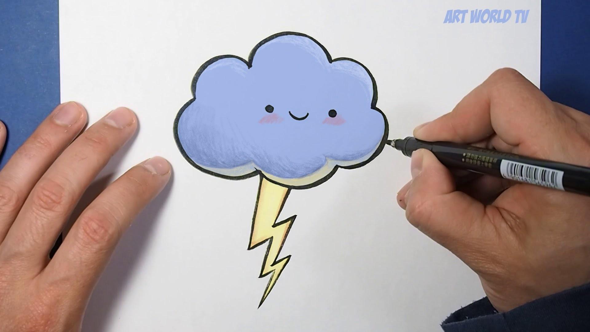 How to Draw a Cloud | Como Dibujar una Nube | Dibujos Kawaii Drawings