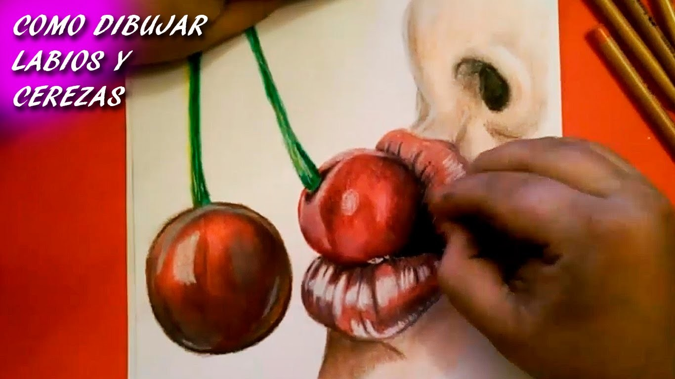 Como Dibujar Labios y Cerezas. How To Draw Lips and Cherries