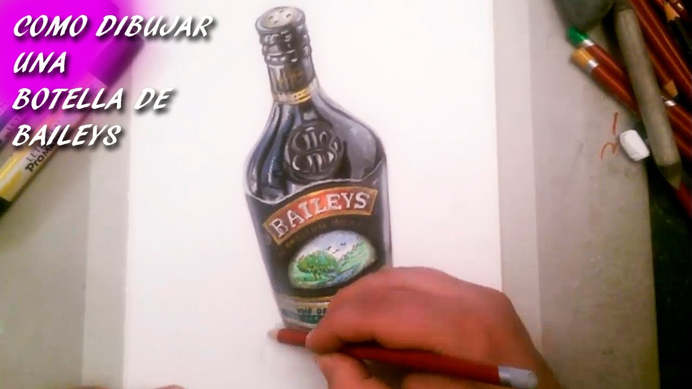 Como Dibujar Una Botella de Baileys I How to draw a bottle of Baileys