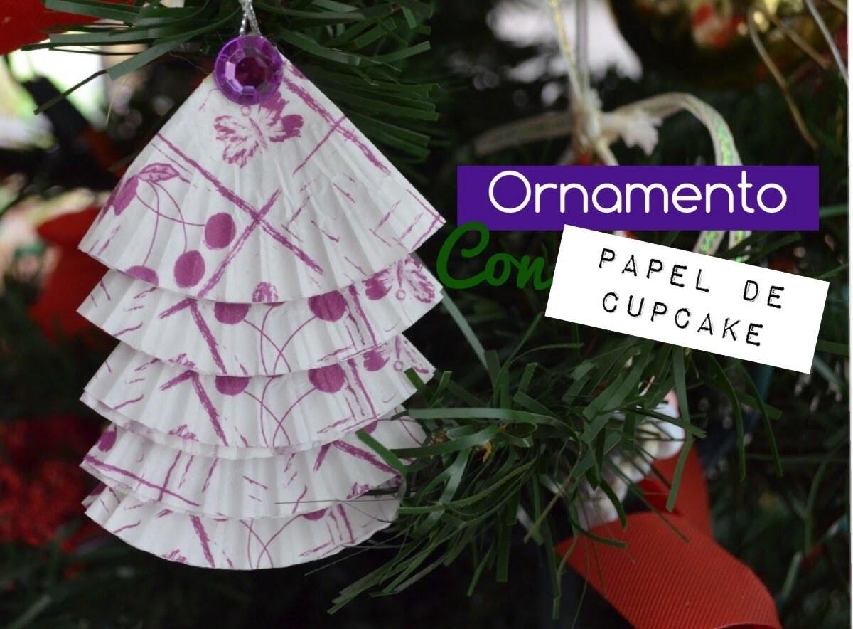 Como hacer un ornamento con papel de cupcake.diy ornament