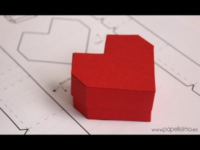Caja con forma de corazón. Manualidades de papel San Valentín