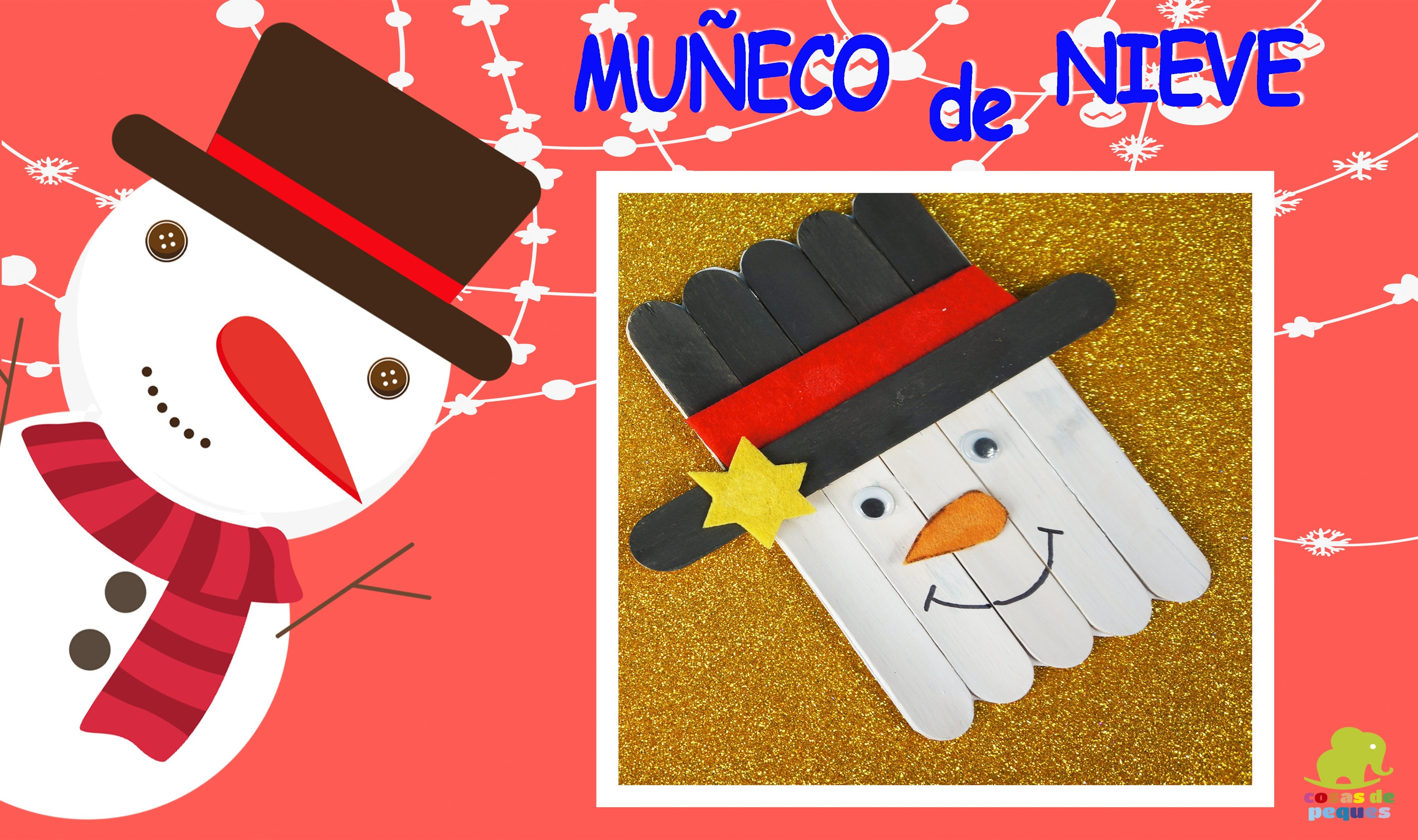 Muñeco de nieve con palitos de helado – Manualidades de Navidad – Manualidades para niños