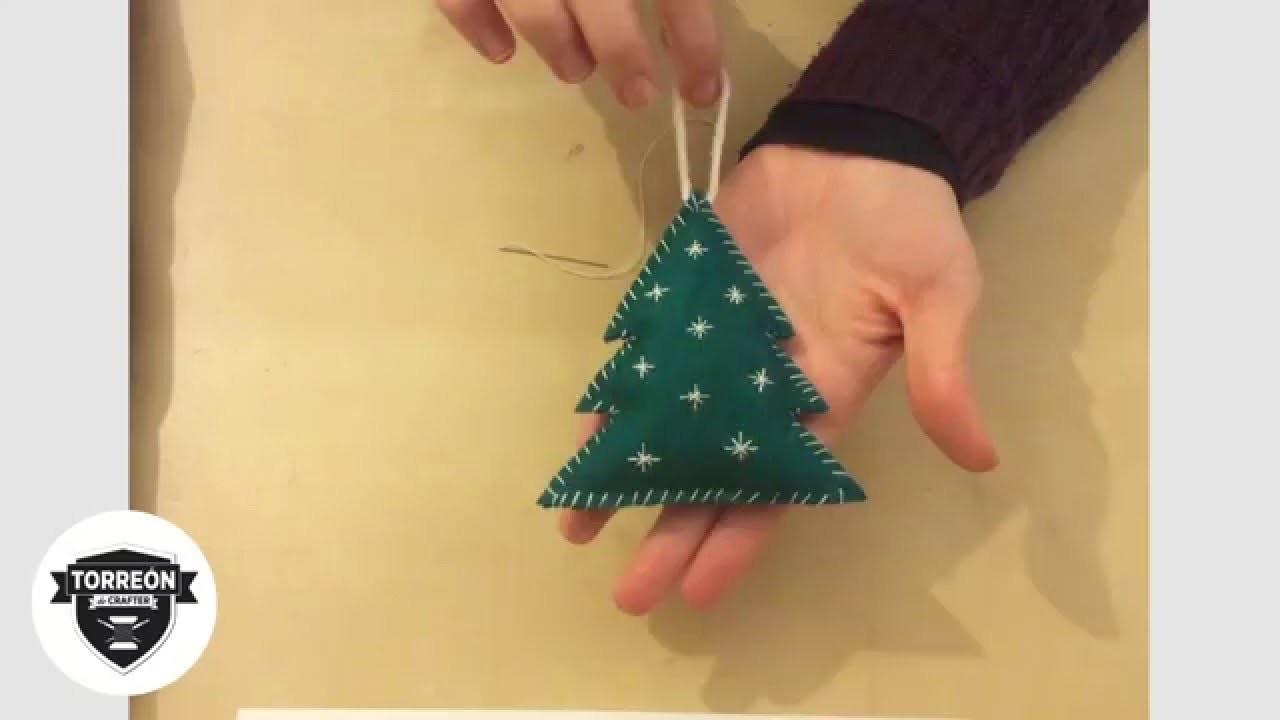 Cómo hacer árbol de navidad con fieltro. Tutorial Christmas tree felt.