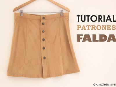DIY Tutorial y patrones: Falda abotonada