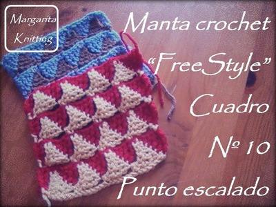Manta a crochet Freestyle cuadro 10: punto escalado (diestro)