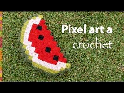Pixel art en crochet: ¡muy divertido! El almohadón sandía es solo una muestra :)