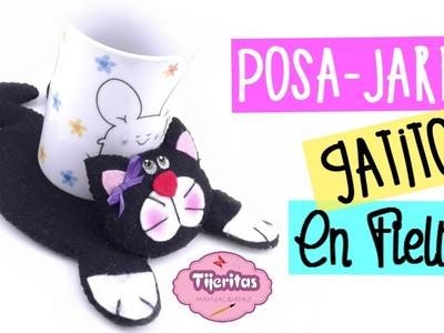 DIY - Como hacer un Posa - Jarros de Gatito - Facil - #TijeritasManualidades