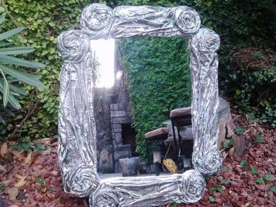 DIY Espejo con cartón y tela. los hobbies de yola. Mirror makeover