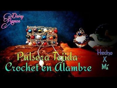 Pulsera tejida Crochet en Alambre, Crochet Wire Bracelet DIY