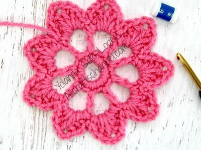 Aprenda a tejer una flor facil (solo 3 hileras)