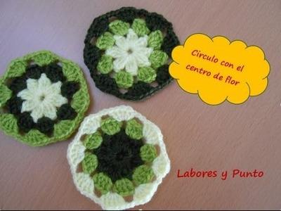 Aprende a tejer este circulo con centro de flor a ganchillo o crochet