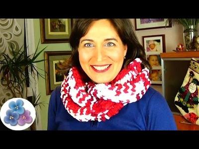 Bufanda Infinita de Cuello MUY FACIL a 2 agujas Hombre.Mujer Bufanda de Trapillo Polar Pintura Facil
