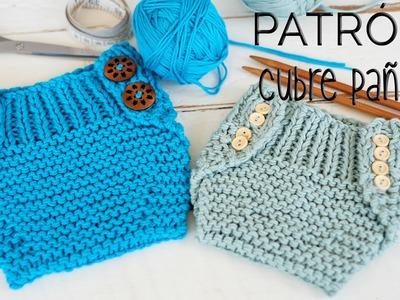 Cómo tejer un cubre pañal-braguita-calzón (dos agujas) PATRÓN 2 tallas