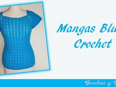 Mangas blusa agua marina a crochet