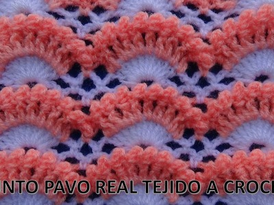 Punto a crochet # 2  punto pavo real a crochet paso a paso- points crocheted