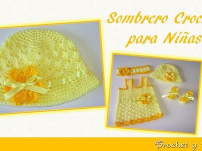 Sombrero crochet verano para niñas con flor y cinta