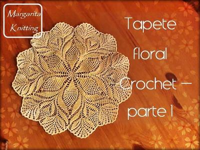 Tapete floral a crochet parte 1 (zurdo)