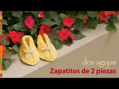 Zapatitos de dos piezas tejidos en dos agujas o palitos para bebés!