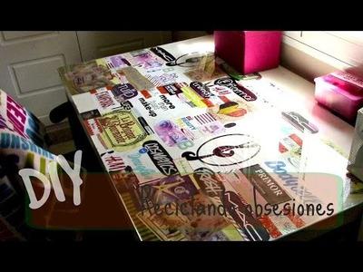 DIY Reciclando Obsesiones - Forrar Escritorio- || Airam Mu