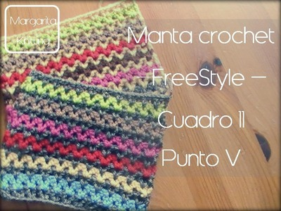 Manta a crochet Freestyle cuadro 11: punto V (zurdo)