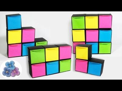 Origami Facil: Joyero de Papel Modular y Organizador de Escritorio Pintura Facil