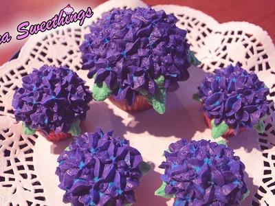 Hortensias  (Hydrangea) - Decoración de cupcakes en buttercream (Fácil)