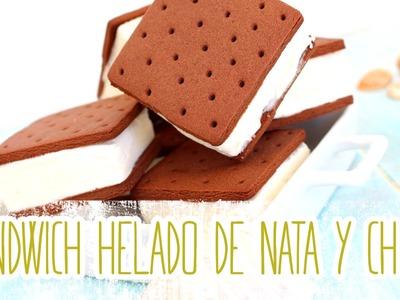 Receta: Sandwich helado de nata y chocolate