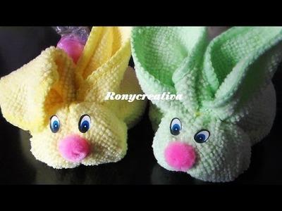 Cómo hacer conejitos de toalla - Babyshower souvenir. Ronycreativa