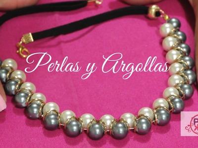 Como hacer un Collar de Perlas y Argollas : Pekas Creaciones