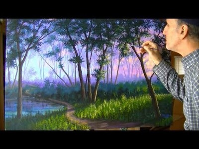 Como Pintar Bosque Niebla Atardecer 1.4 Camino Lago estanque Acrilicos Tela