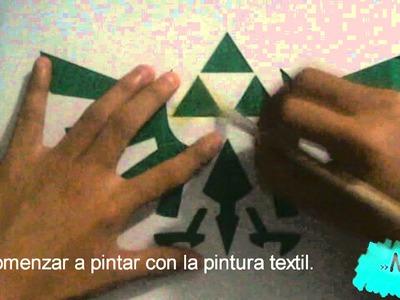 DIY➧ Pintar Playeras - Pintura textil y Acrilica 〈La trifuerza〉