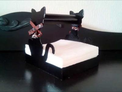 DIY: Servilletero de cartón con forma de gato