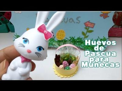 Huevos de PASCUA en miniatura , canasta y conejos de chocolate para muñecas