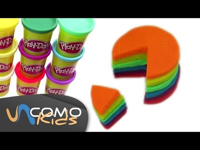 Pastel de arco iris con plastilina (rainbow play doh cake)