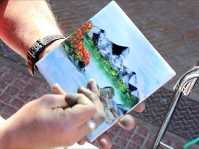 Pintando paisajes con los dedos  oleo)