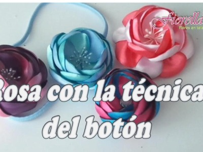 Rosa en tela con la técnica del botón Tutorial 18