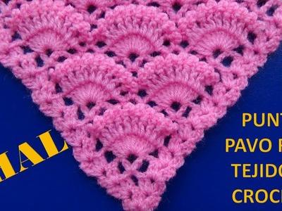 Chal a crochet # 2 tejido en punto pavo real a crochet paso a paso - CHAL crocheting