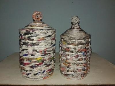 Como hacer cestas de revistas,reciclando latas