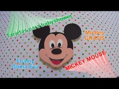 Cómo hacer tarjetas para baby shower Mickey Mouse en foamy goma eva con moldes gratis
