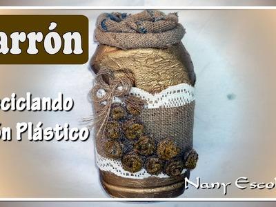 JARRÓN CON BIDON PLÁSTICO RECICLADO