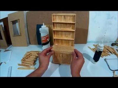 Mueble de cocina para muñecas hecho con palitos ( parte 2 )