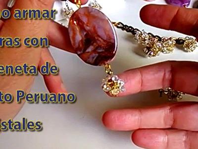 Como armar esferas con cadeneta de punto peruano y cristales